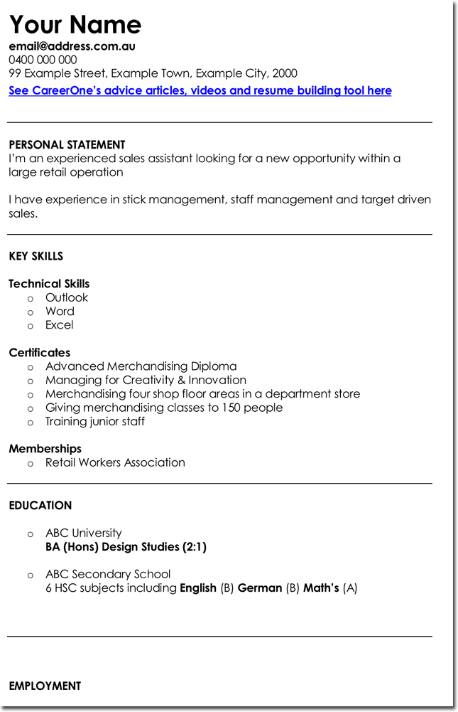 retail manager cv template