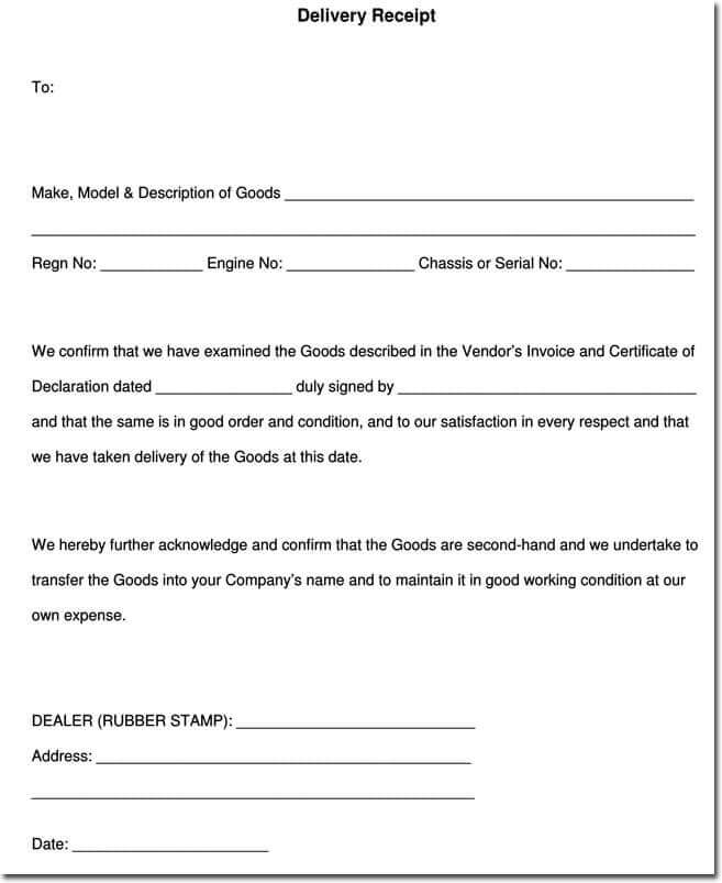 delivery receipt form template word