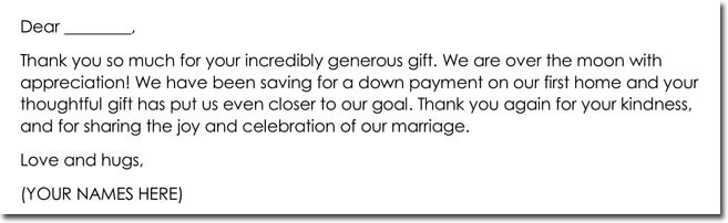 Wedding Gift Thank You Note Templates - 10+ Best Wording Samples