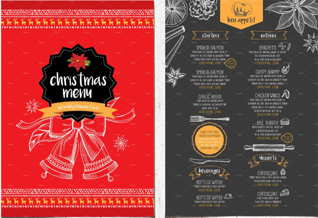 13+ Best Christmas Menu Templates for any Restaurant - food menu templates free