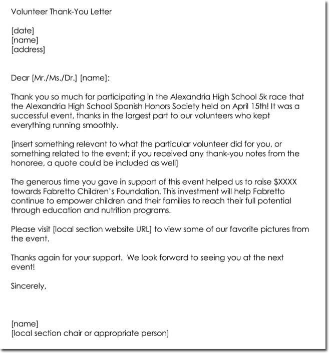 14+ Volunteer Thank You Letter Templates, Samples  Formats