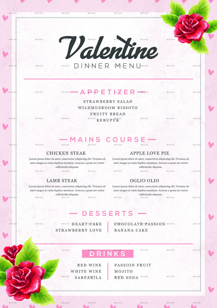 Valentine\u0027s Day Menu Templates - 10+ Menu Design in PSD, EPS, PDF - valentines day menu template