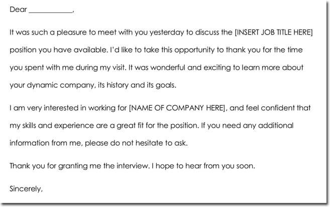 8+ Job Interview Thank You Note Templates  Wording Ideas