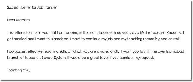 sample transfer letter for teacher