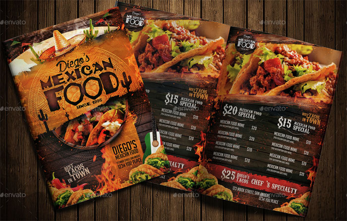 21 Best Selling Mexican Style Restaurant Menu Templates