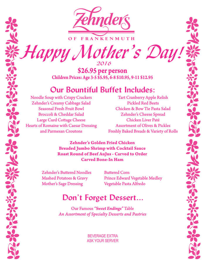 Special Mother\u0027s Day Menu Templates - Free Printables