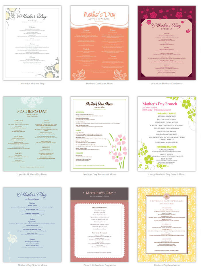 mother s day menu template