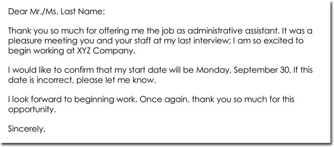 Job Offer Thank You Letter Templates - Best Samples and Examples