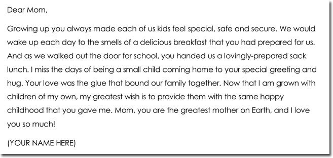 Thank You Letter For Mom Choice Image - Letter Format Formal Sample - sample mom thank you letter