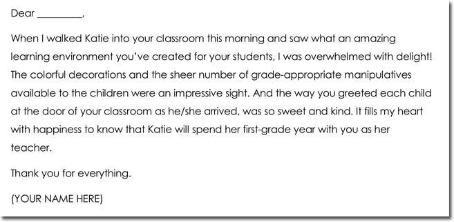 10+ Teacher Thank You Note Templates  Wording Ideas