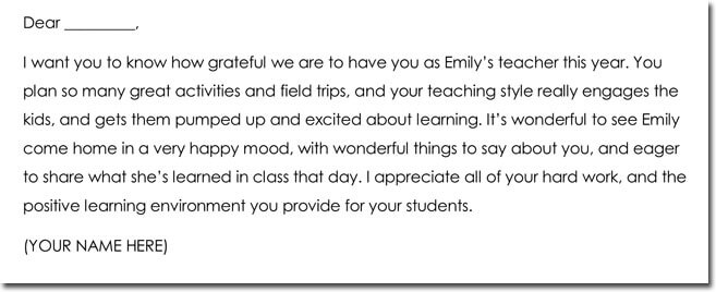 10+ Teacher Thank You Note Templates  Wording Ideas
