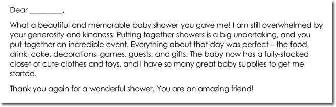 10+ Sample Baby Shower Thank You Notes  Wording Ideas - sample thank you note