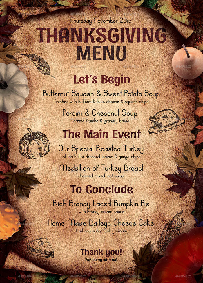 8 Best Selling Thanksgiving Restaurant Menu Templates