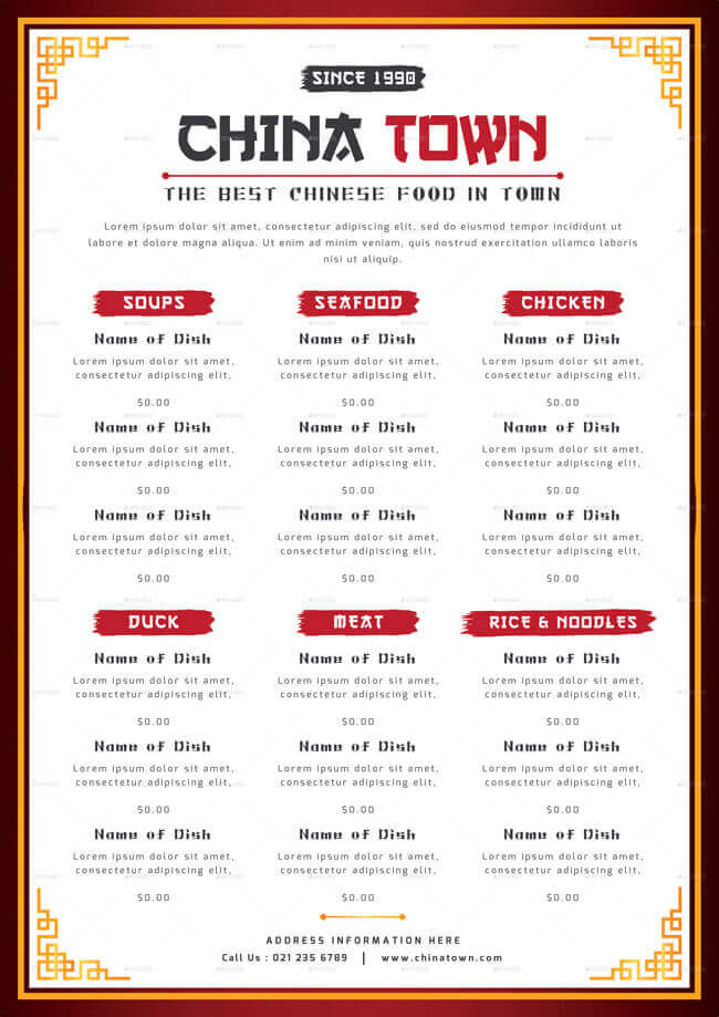 12+ Best Chinese Food Restaurant Menu Templates - food menu template