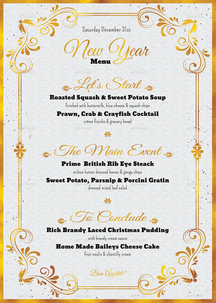 8+ Best New Year Menu Templates to Try This Season - event menu template
