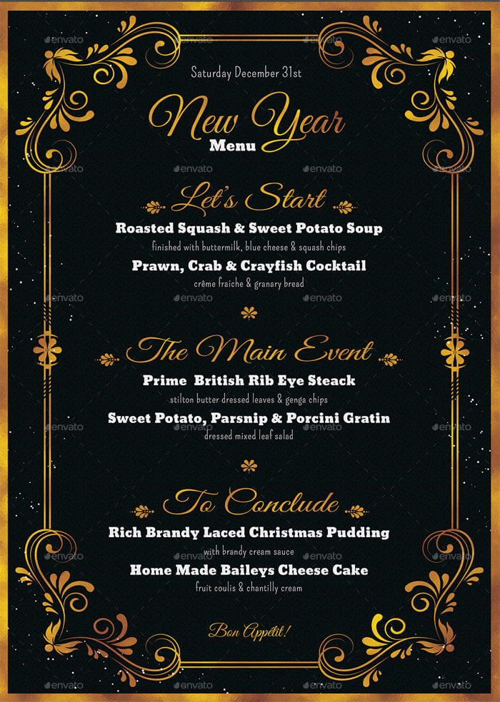 8+ Best New Year Menu Templates to Try This Season - menu templates for word