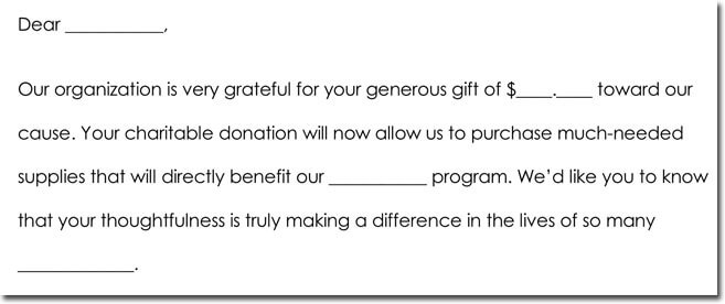 Donation Thank You Note Samples, Formats  Wording Ideas - Thank You Letters For Donation