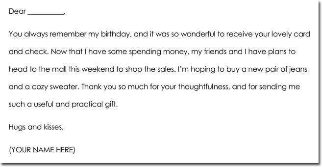 11+ Money/Cash Gift Thank You Note Templates  Wording Ideas - sample thank you note