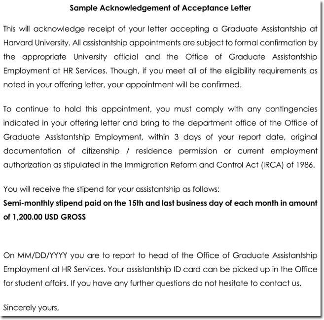 Acknowledgement Letter Templates - 18+ Samples, Examples  Formats