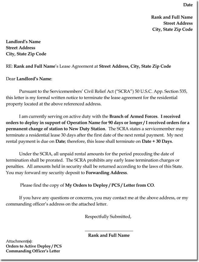 Sample Rental Termination Letters, Notice  Form Formats