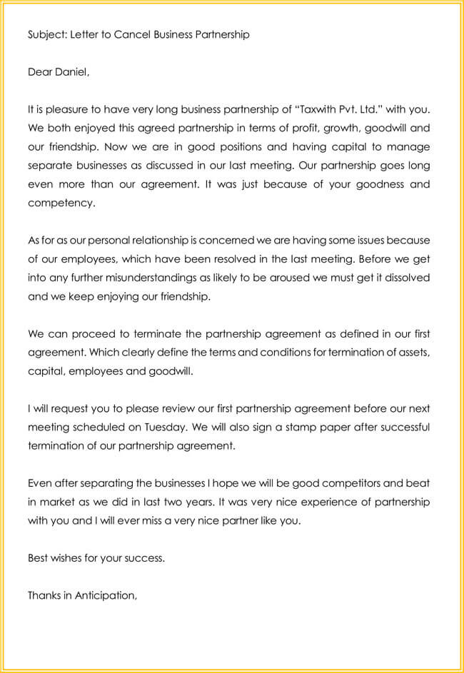 sample letter of contract termination
