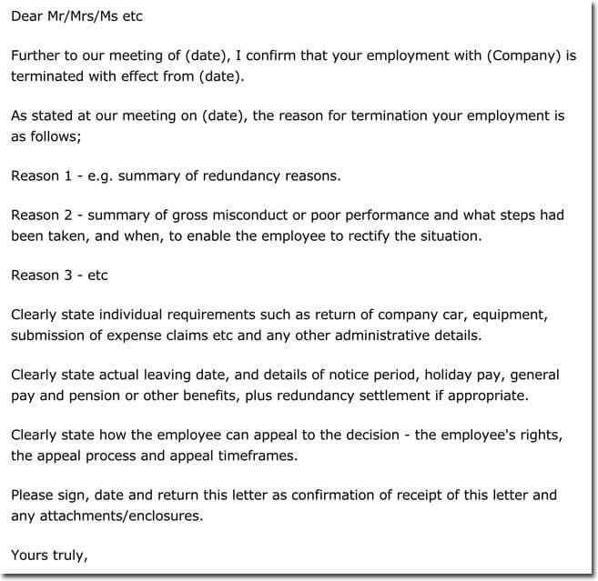 12+ Job Termination Letter Samples  Formats - Employee Separation Letter