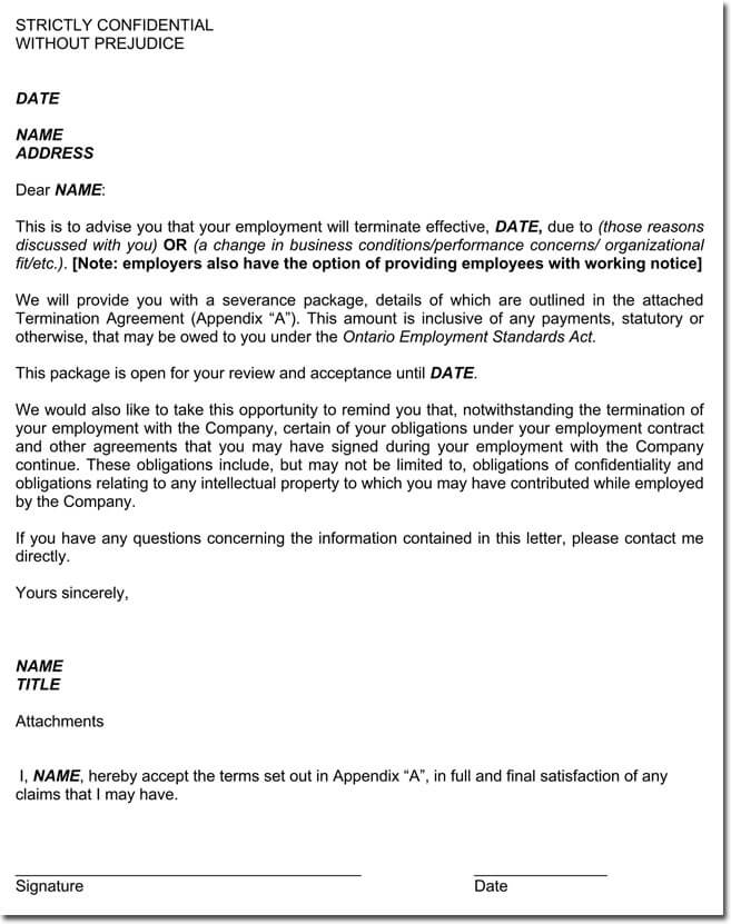 notice of termination of employment letter sample