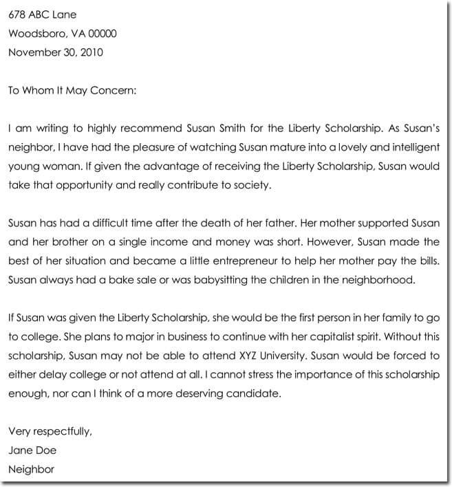 Letter of Recommendation for Scholarship - 8+ Best Samples