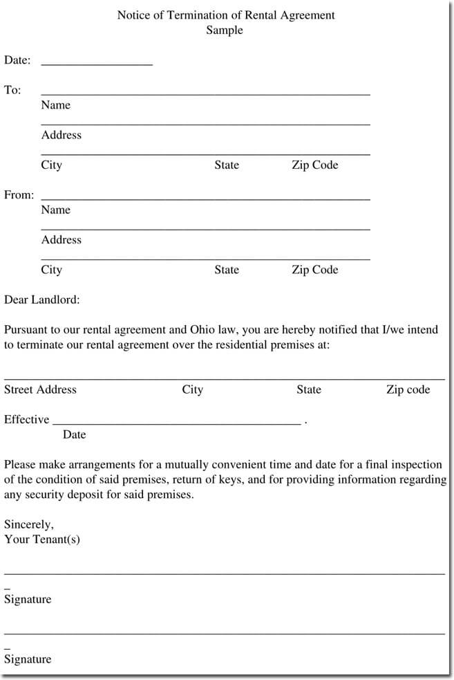 Sample Rental Termination Letters, Notice  Form Formats