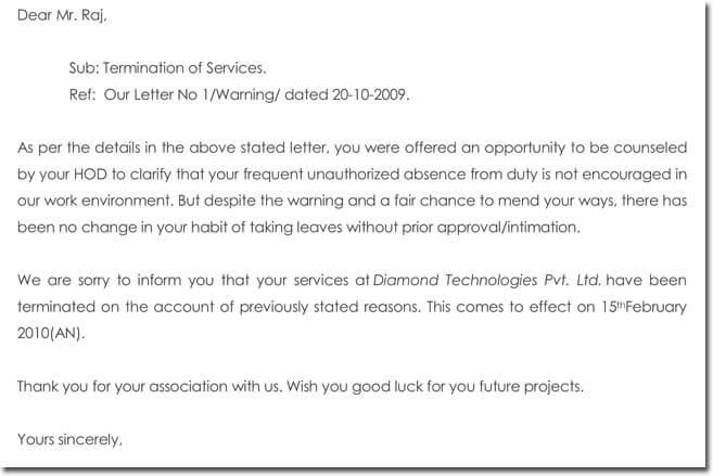 12+ Job Termination Letter Samples  Formats