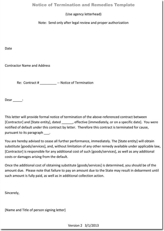 Job Termination Letters for Cause  Without Cause Sample - job termination letter