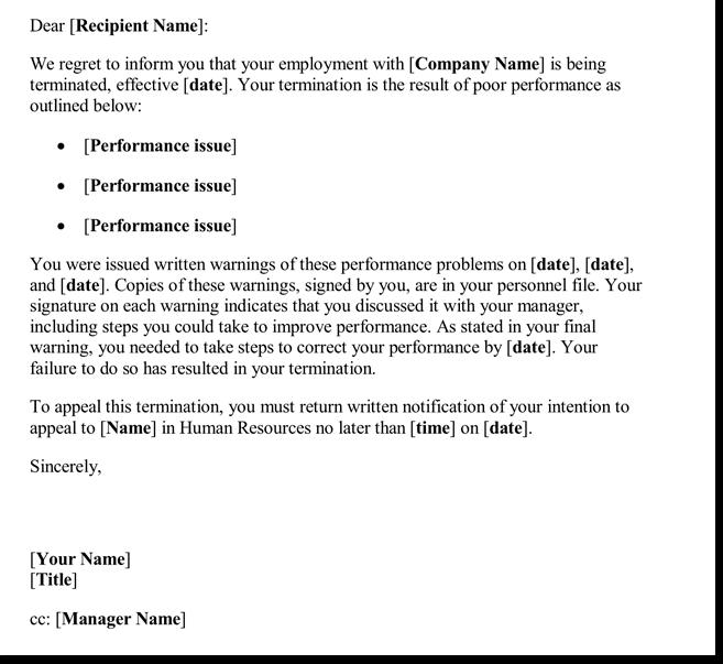 unsatisfactory work performance letter