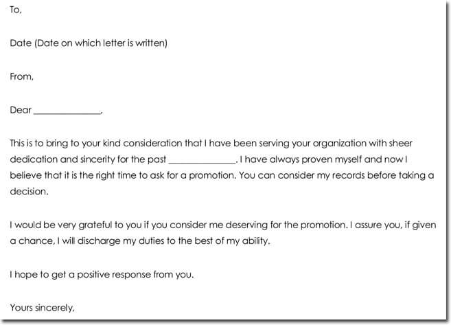 25+ Formal Business Letter Templates - Samples  Formats - request for promotion consideration