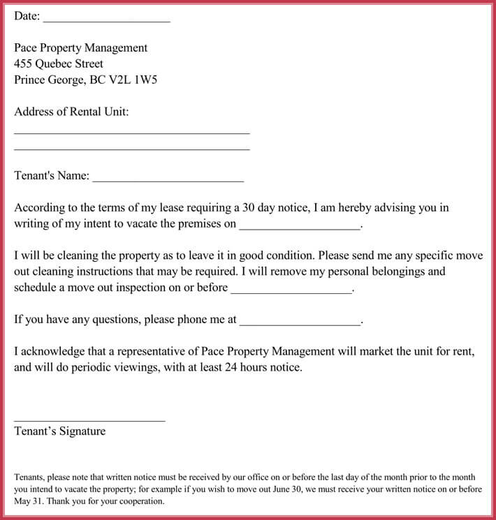 30 Day Notice Letter Templates - 12+ Samples in Word  PDF Format