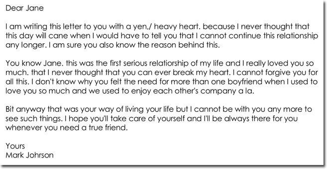 Break Up Letter Templates - 8+ Samples for Boyfriend, Girlfriend, Friend