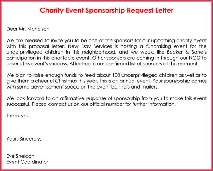 Sponsorship Request Letter - 12+ Best Samples, Formats  Writing Tips - proposal letter for sponsorship sample for event