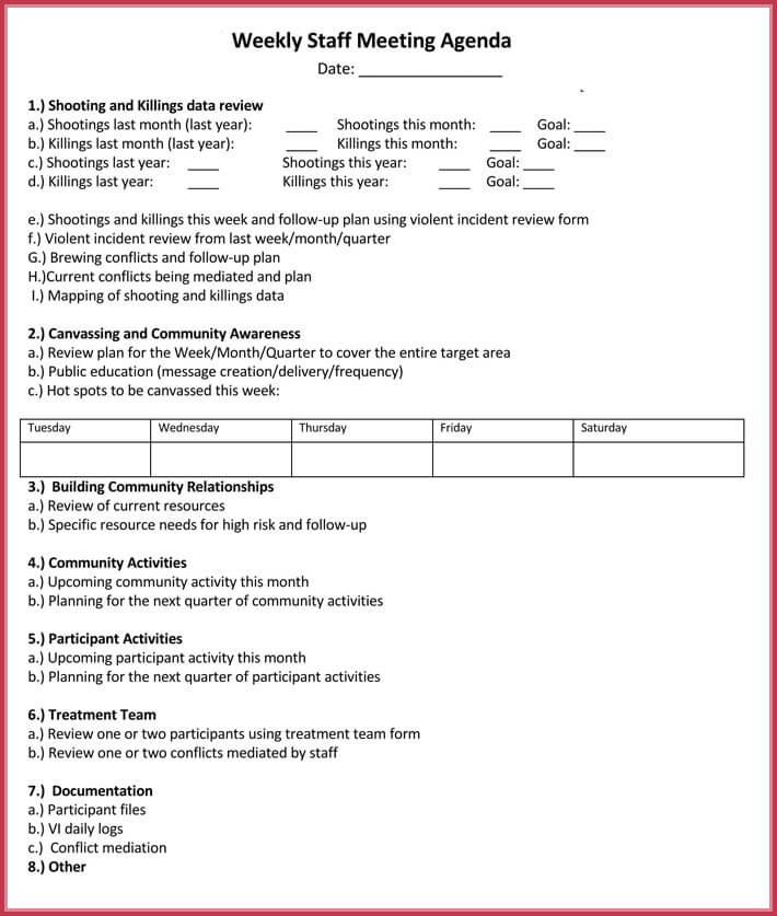 Weekly Meeting Agenda Template - 9+ Samples, Formats in Word, PDF