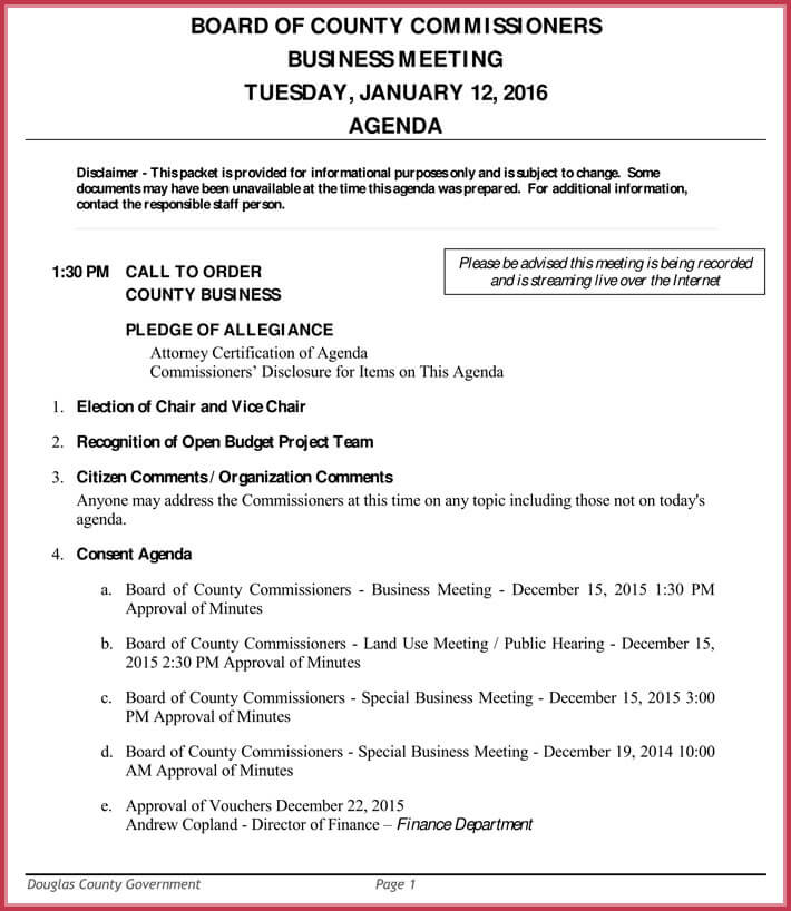 Weekly Meeting Agenda Template - 9+ Samples, Formats in Word, PDF - business meeting agenda template