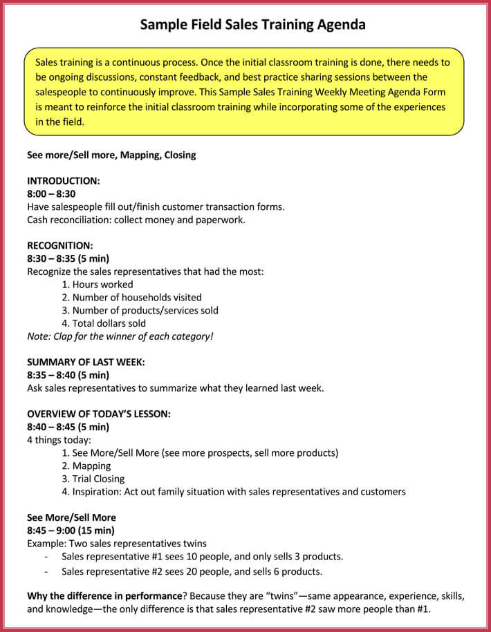 Training Agenda Template Sample Training Agenda Sample Training - Sample Training Agenda