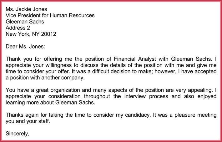 sample job offer rejection letter