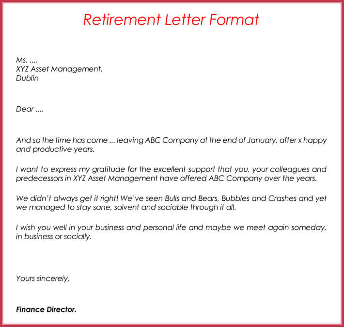 Retirement letter Samples, Examples, Formats  Writing Guide - retirement letters