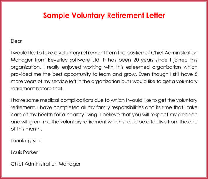 Retirement letter Samples, Examples, Formats  Writing Guide