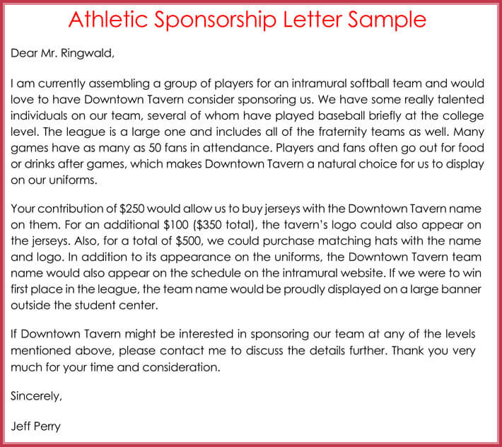 Sponsorship Request Letter - 12+ Best Samples, Formats  Writing Tips - free sponsorship letter