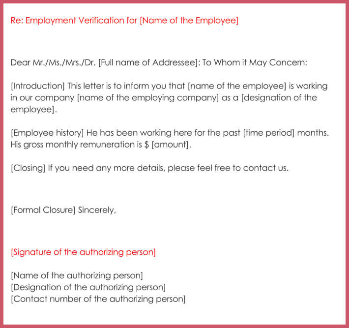 letter of employment verification template