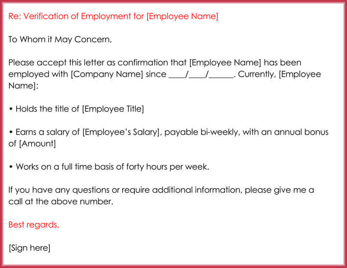 Sample Income Verification Letter Proof Of Income Letter Template - examples of employment verification letters