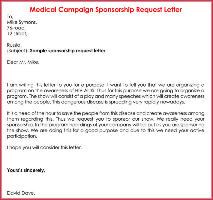 Sponsorship Request Letter - 12+ Best Samples, Formats  Writing Tips