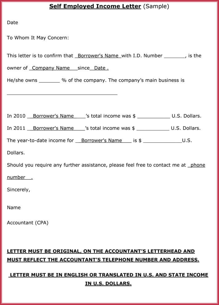 proof of income letter for self employed employment best accounting
