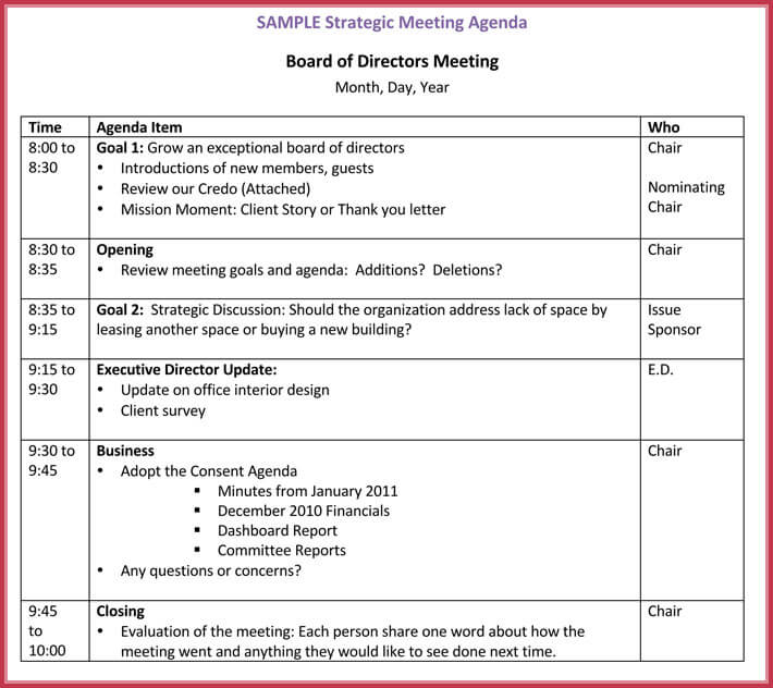 Board Meeting Agenda Template - 10+ Free Samples, Formats for Word