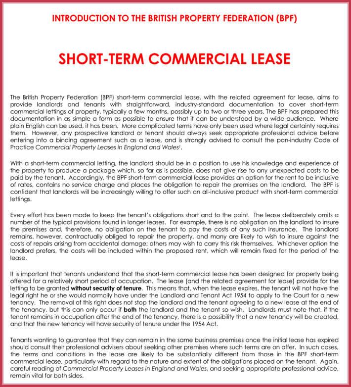 Commercial Rental Agreement - 9+ Samples, Forms  Templates - sample short term rental agreement