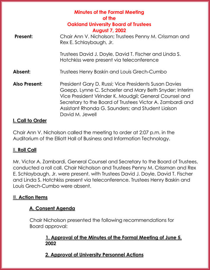 Formal Meeting Agenda Template - 12+ Best Samples for Word  PDF